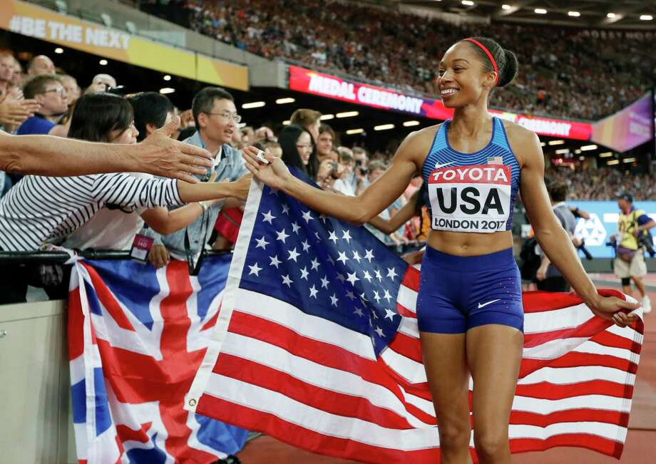 American Allyson Felix earned a gold medal as part of the 1,600-meter relay Sunday, bringing the U.S. medal count at the world championships to 30. Photo: Kirsty Wigglesworth, STF / Copyright 2017 The Associated Press. All rights reserved.
