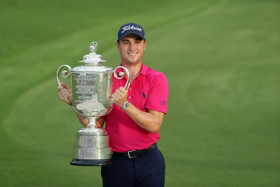 CHARLOTTE, NC - AUGUST 13:  Justin Thomas of the United States poses with the Wanamaker Trophy after winning the 2017 PGA Championship during the final round at Quail Hollow Club on August 13, 2017 in Charlotte, North Carolina. Thomas finished with an -8.  (Photo by Sam Greenwood/Getty Images) Photo: Sam Greenwood/Getty Images
