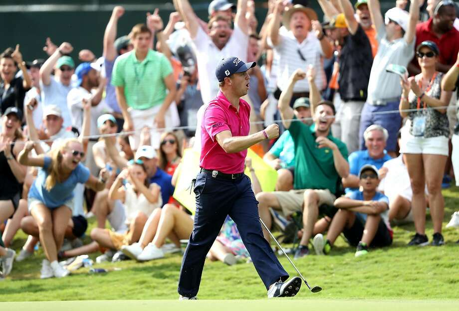 Justin Thomas exults after his birdie putt on the 13th green during the final round of the 2017 PGA Championship at Quail Hollow Club in Charlotte, N.C. Photo: Sam Greenwood, Getty Images