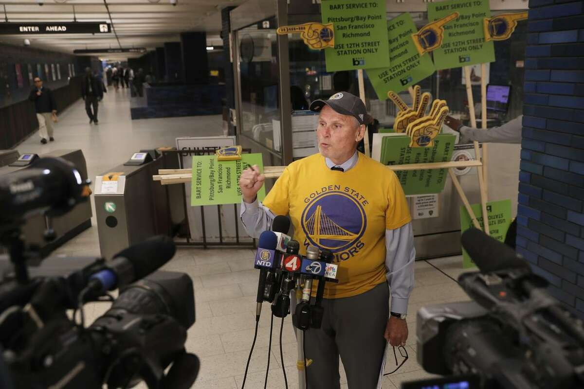 Paul Oversier, BART's assistant general manager, discusses the transit agency's plans for handling passengers during the Golden State Warriors' parade in June.