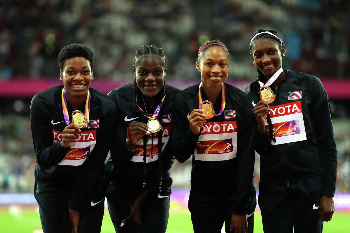 LONDON, ENGLAND - AUGUST 13: Quanera Hayes, Allyson Felix, Shakima Wimbley and Phyllis Francis of the United States, gold, pose with their medals for the Women's 4x400 Metres Relay final during day ten of the 16th IAAF World Athletics Championships London 2017 at The London Stadium on August 13, 2017 in London, United Kingdom. (Photo by Richard Heathcote/Getty Images) ORG XMIT: 700043878