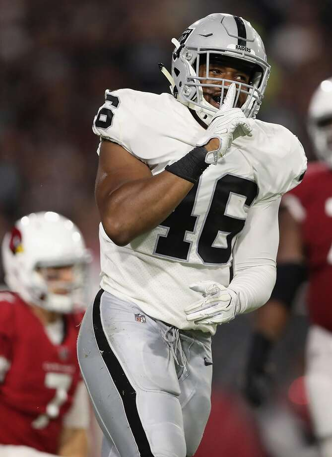 Raiders rookie LaTroy Lewis, an undrafted linebacker from Tennessee, reacts after sacking the Cardinals' Blaine Gabbert in the second half Saturday. Lewis had two of Oakland's four sacks. Photo: Christian Petersen, Getty Images