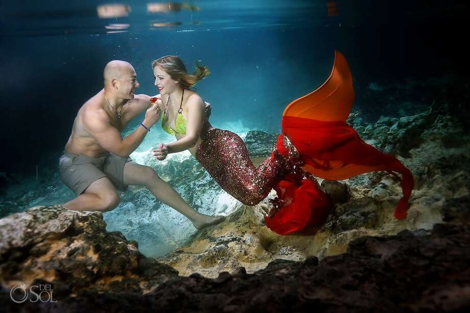 Eric Martinez proposes to Cammy Rynae Cuoco in Riviera Maya, Mexico, on June 8, 2017. Both of San Antonio, Martinez said he planned the engagement in secret with photographer Polly Dawson of Del Sol Photography. The couple later recreated the proposal underwater with Cuoco dressed as a mermaid. Photo: Courtesy Polly Dawson, Del Sol Photography