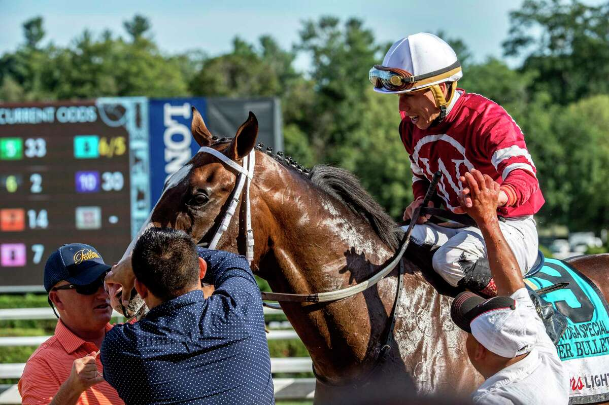 Jockey Irad Ortiz Jr. is all smiles after winning the 112th running of The Saratoga Special on Copper Bullet at the Saratoga Race Course Sunday Aug. 13, 2017 in Saratoga Springs, N.Y. (Skip Dickstein/Times Union)