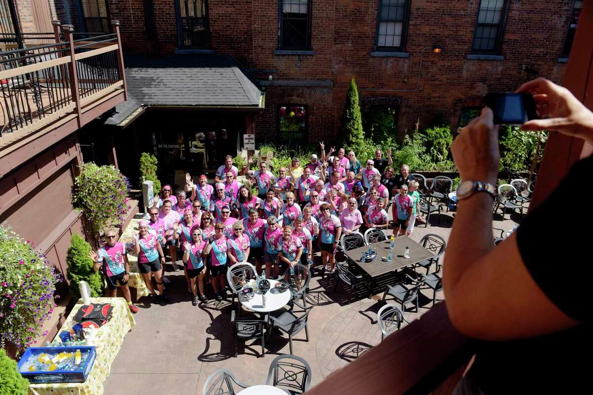 Members of the Greater Capital District Ride for Missing Children and members of the Central New York chapter gather for a photo at the Center For Hope on Sunday, Aug. 13, 2017, in Ballston Spa, N.Y. The riders took part in a 40-mile bicycle ride on Sunday to show support for the families of local missing children including Suzanne Lyall, Tammie Anne McCormick and Craig Frear. The 10th Annual Greater Capital District Ride for Missing Children will be held on Friday, September 29, 2017, beginning at the University at Albany. The first missing children's ride began in the Utica area with seven riders in 1995. (Paul Buckowski / Times Union)