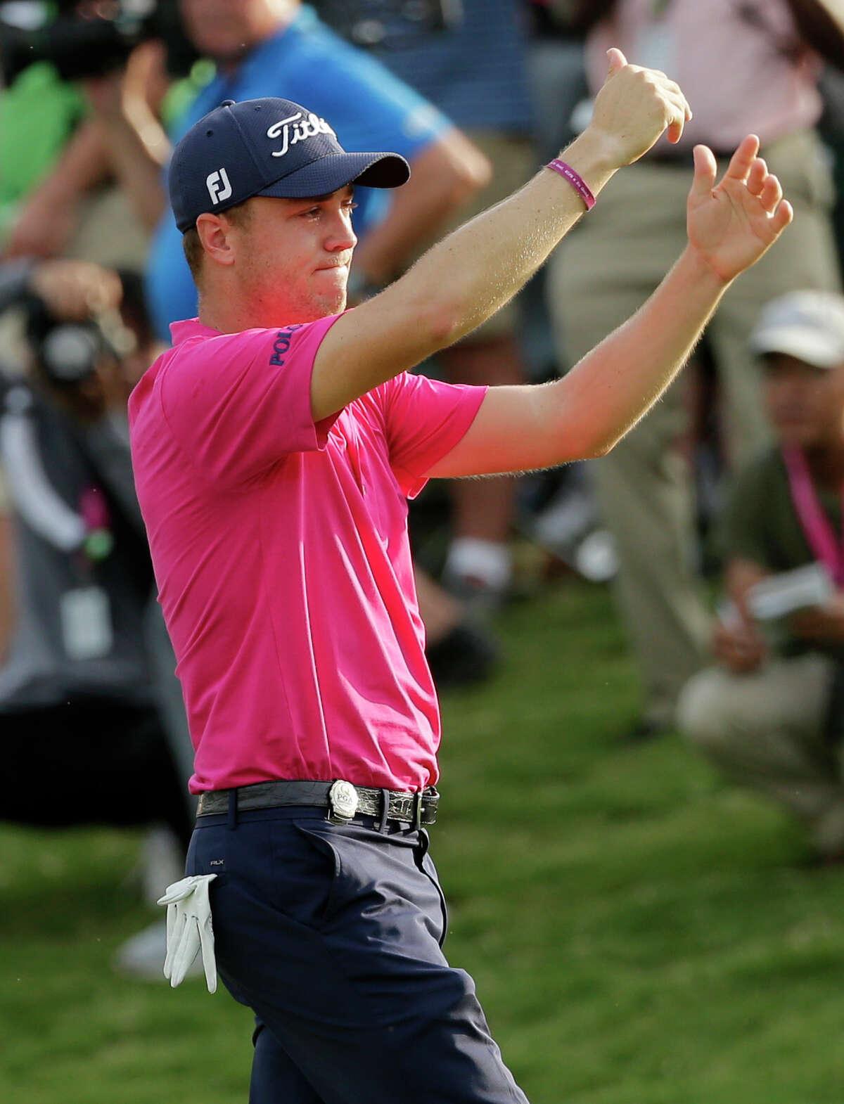 Justin Thomas celebrates after the final round of the PGA Championship golf tournament at the Quail Hollow Club Sunday, Aug. 13, 2017, in Charlotte, N.C. (AP Photo/Chuck Burton) ORG XMIT: PGA194