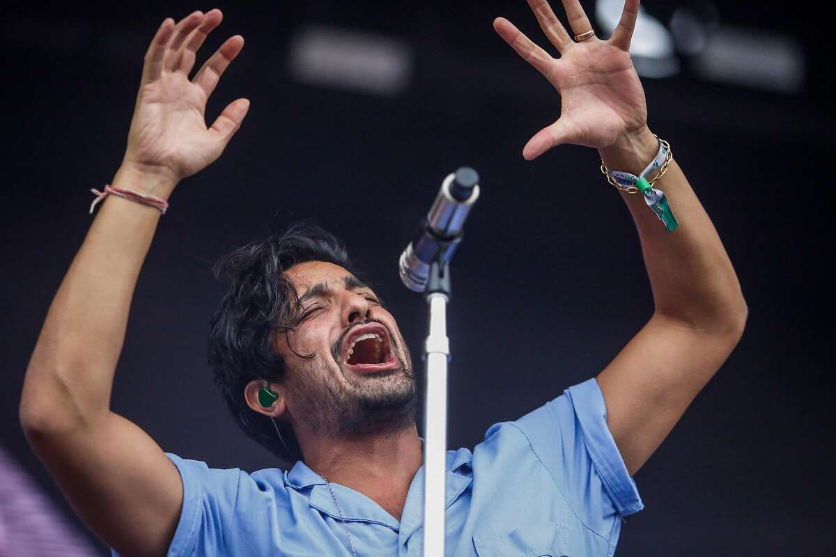 Sameer Gadhia, lead singer of Young the Giant, performs on the Lands End stage during the 10th annual Outside Lands Festival in Golden Gate Park in San Francisco on Sunday, August 13, 2017.