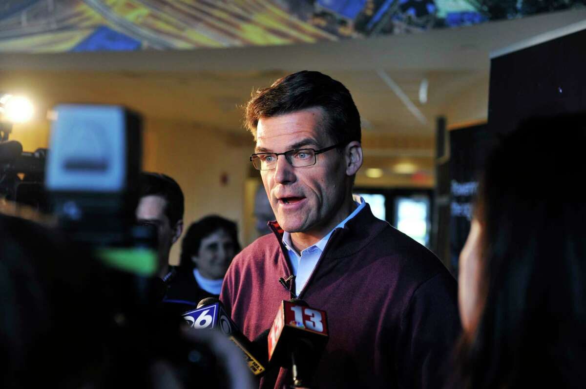 Steve Bolze, president and CEO of GE Power talks to members of the media following a company announcement that they have completed the acquisition of Alstom?'s power and grid businesses on Monday, Nov. 2, 2015, in Schenectady, N.Y. (Paul Buckowski / Times Union)