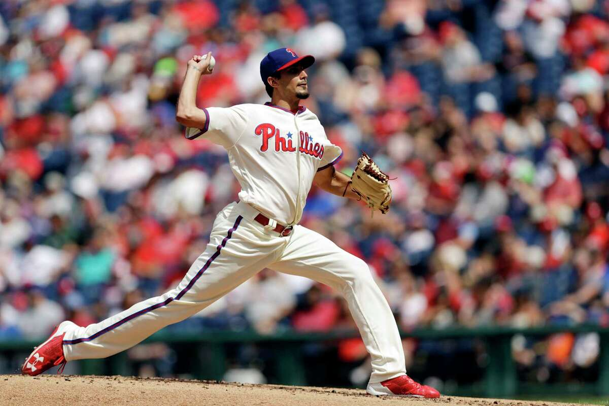Philadelphia Phillies' Zach Eflin pitches during the third inning of a baseball game against the New York Mets, Sunday, Aug. 13, 2017, in Philadelphia. (AP Photo/Matt Slocum) ORG XMIT: PXS106