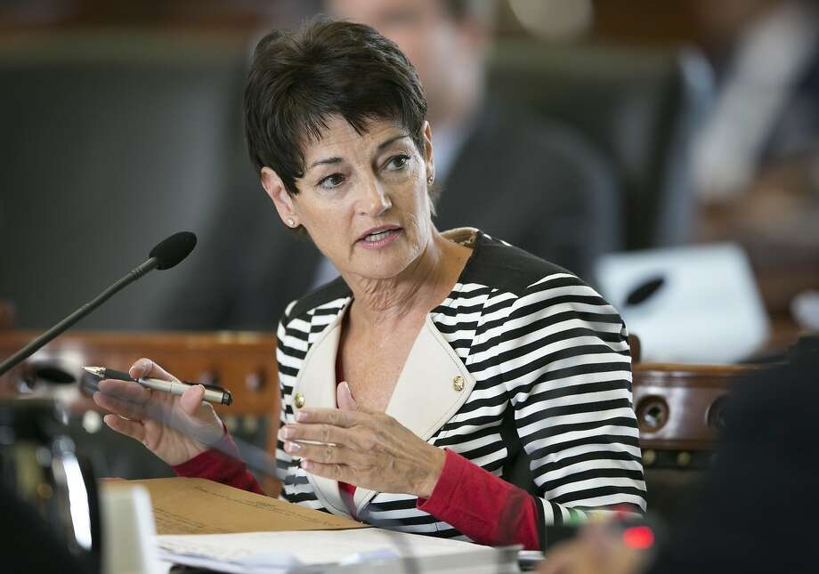 State Sen. Donna Campbell, R-New Braunfels, speaks at a Senate Finance Committee hearing at the Capitol in Austin, Texas, Sunday July 23, 2017. (Jay Janner/Austin American-Statesman via AP) Photo: Jay Janner, Associated Press