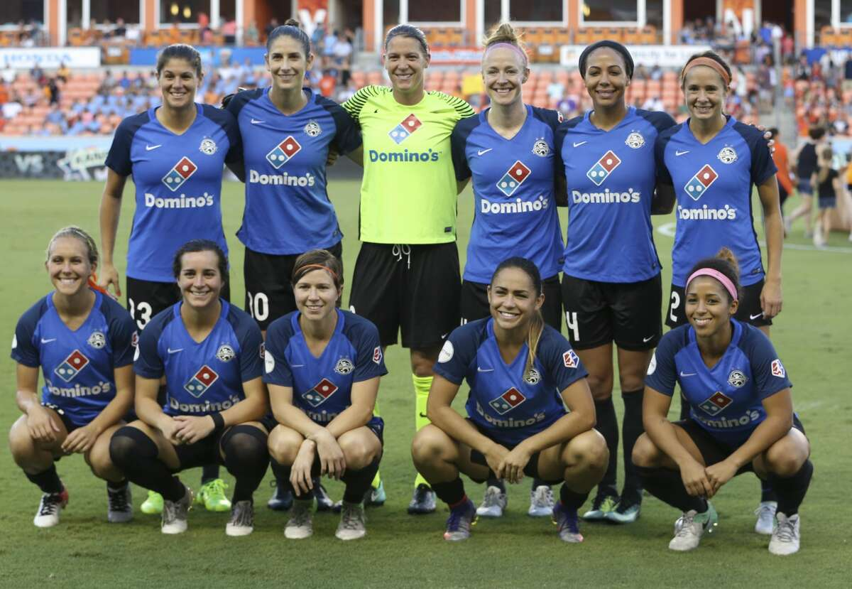 FC Kansas City starting lineup poses for a photo before game against the Houston Dash at BBVA Compass Stadium Sunday, Aug. 13, 2017, in Houston. ( Yi-Chin Lee / Houston Chronicle )