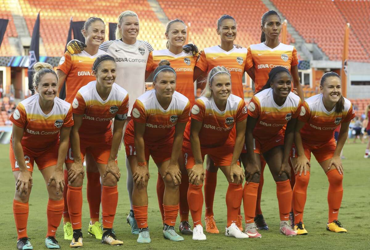 Houston Dash starting lineup poses for a photo before the game against the FC Kansas City at BBVA Compass Stadium Sunday, Aug. 13, 2017, in Houston. ( Yi-Chin Lee / Houston Chronicle )