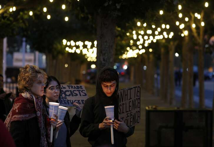 A 2017 San Francisco gathering in remembrance of those who were injured and died in a confrontation with white nationalists in Charlottesville, VA. Hate crimes rose dramatically last year, according to new data from the FBI.