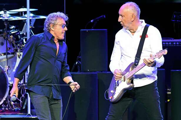 LAS VEGAS, NV - JULY 29:  Singer Roger Daltrey (L) and guitarist Pete Townshend of The Who perform on the first night of the band's residency at The Colosseum at Caesars Palace on July 29, 2017 in Las Vegas, Nevada.  (Photo by Ethan Miller/Getty Images)