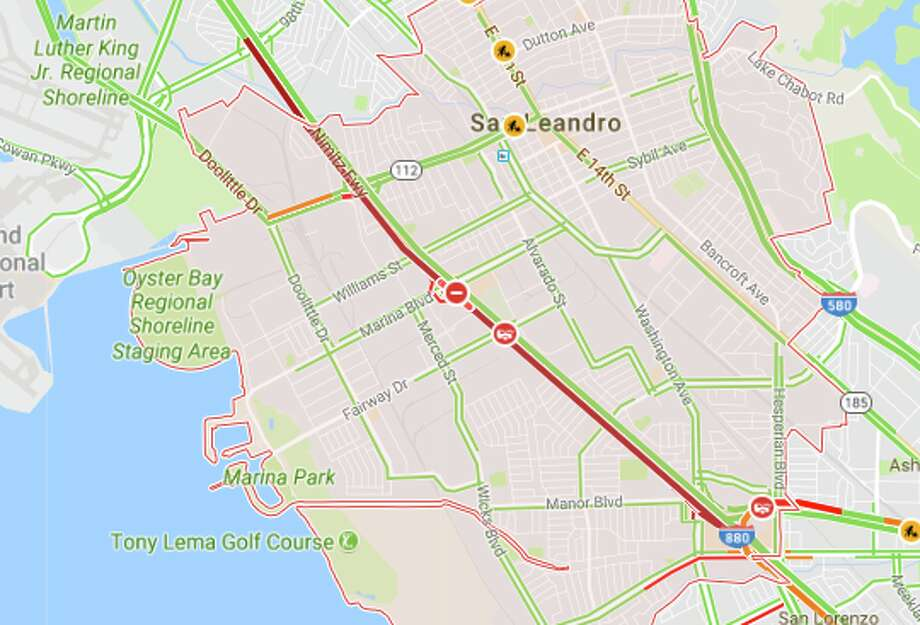 A Google Maps traffic screenshot taken at 5:40 a.m. shows the road closure on southbound I-880 in San Leandro early on Monday, Aug. 14, 2017. Photo: Google Maps