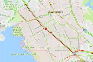 A Google Maps traffic screenshot taken at 5:40 a.m. shows the road closure on southbound I-880 in San Leandro early on Monday, Aug. 14, 2017.