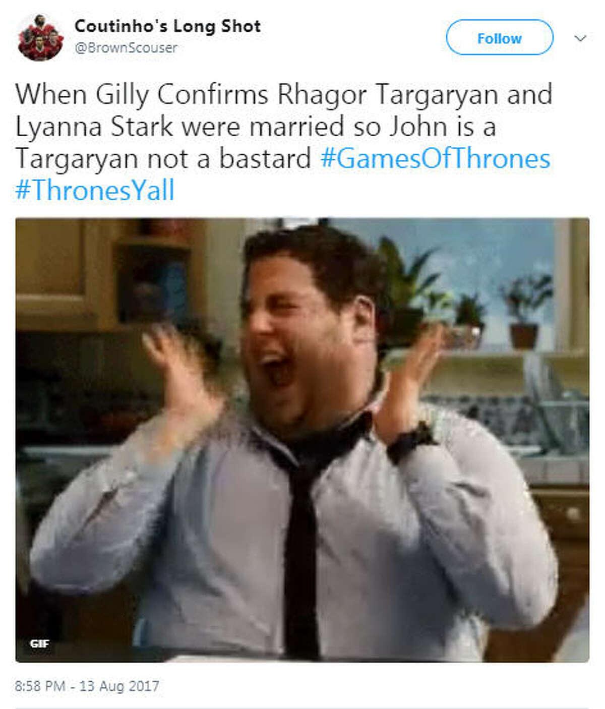 """When Gilly Confirms Rhagor Targaryan and Lyanna Stark were married so John is a Targaryan not a bastard #GamesOfThrones #ThronesYall"" Source: Twitter"