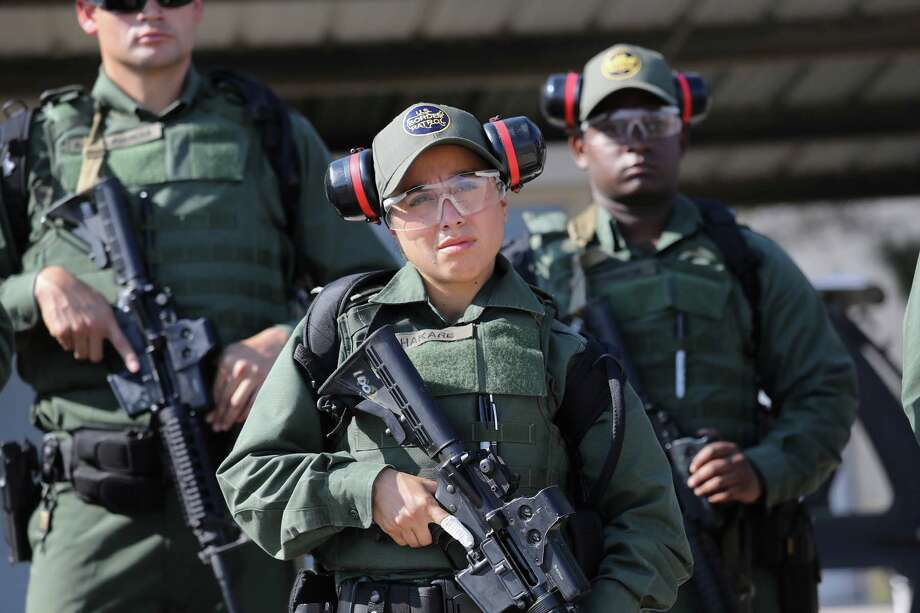 U.S. Border Patrol trainee Stevany Shakare, 24, takes part in a weapons training class at the U.S. Border Patrol Academy on August 3, 2017 in Artesia, New Mexico.See more photos of how U.S. Border Patrol trainees are prepared to man the border... Photo: John Moore/Getty Images