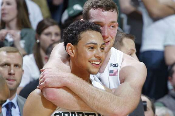 Michigan State's Bryn Forbes (left) and Matt Costello during a 2016 win.