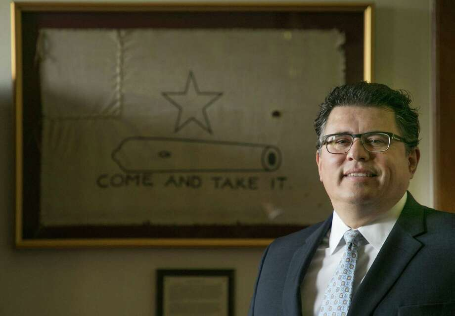 Secretary of State Rolando Pablos in his office at the Capitol in Austin, Texas on Wednesday July 12, 2017. Photo by Kelly West Photo: Kelly West /