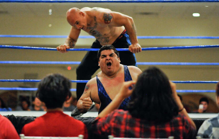 LGPW wrestlers put on a show for the crowd at Royal Reception Hall on Sunday, August 13, 2017 during the LGPW's Summer of Pain wrestling event. Photo: Danny Zaragoza