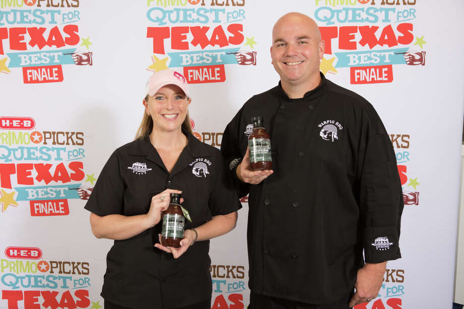 Dennis Butterworth, the founder of FUBAR Barbecue Sauce (For Use on Butts and Ribs), was chosen as a first place winner at the 2017 H-E-B Primo Picks Quest for Texas Best competition. His sauce, developed for WarPig BBQ, a Houston-based competition barbecue team, will now be carried by the Texas supermarket giant. Butterworth is shown here with his wife, Janel. Photo: Ben Porter Photography / Estrella Chacon