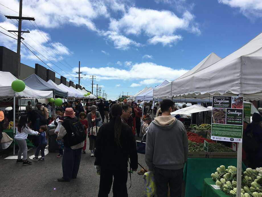 The new Bayview Farmers' Market at Yosemite Avenue and Keith Street in San Francisco Photo: Sarah Fritsche