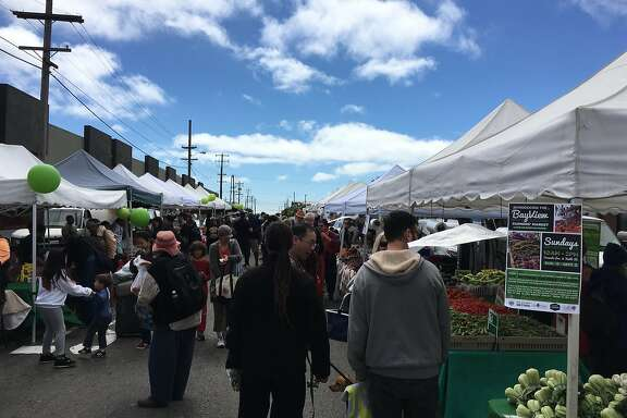 The new Bayview Farmers' Market at Yosemite Avenue and Keith Street in San Francisco