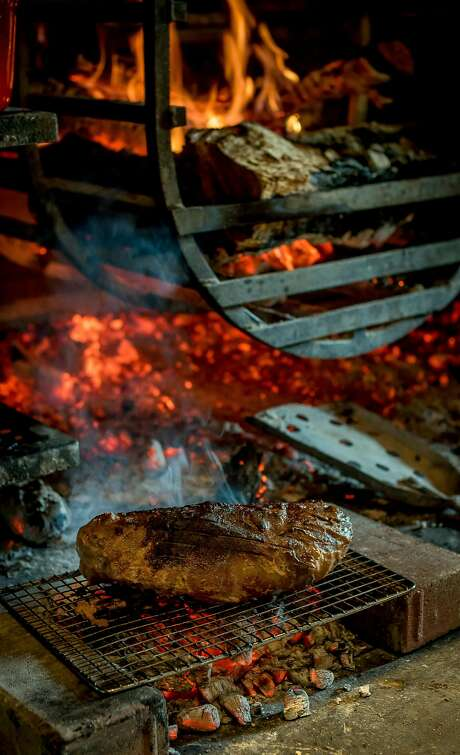 Miso pork being grilled at the Charter Oak in St. Helena. Photo: John Storey, Special To The Chronicle