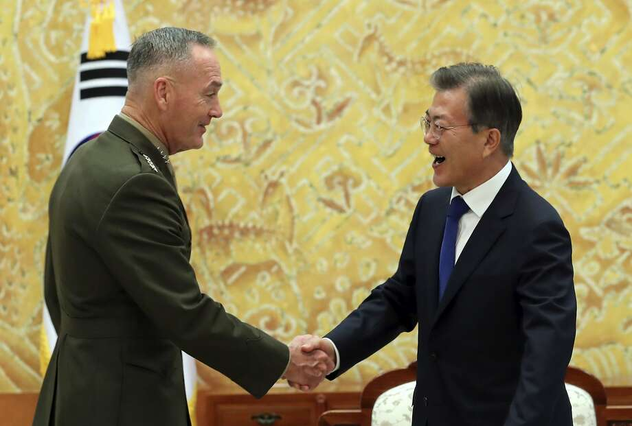 Marine Corps Gen. Joseph Dunford meets with South Korean President Moon Jae-in in Seoul. Photo: Bae Jae-man, Associated Press