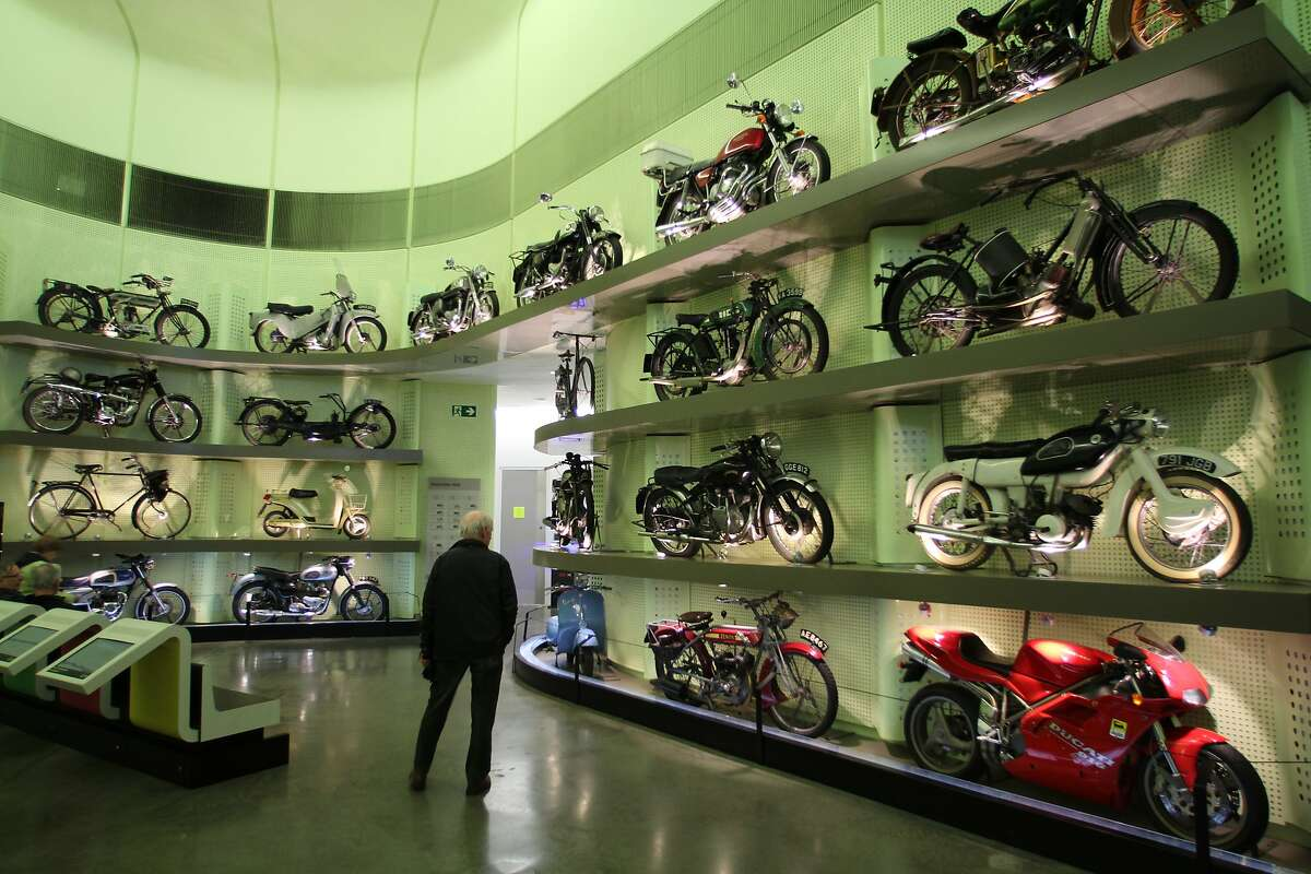 A display of motorcycles at the Riverside Museum, which highlights Glasgow�s transportation heritage.