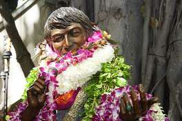 Oahu-based artist Kim Duffett created the 6-foot-4-inch, 300-pound bronze sculpture of Don Ho, formally installed at International Market Place in Waikiki on Aug. 13.