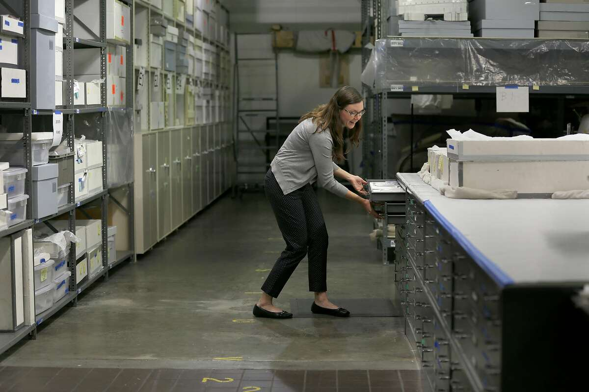SFO museum exhibit director Megan Callan shows airplane pins stored at the SFO museum warehouse on Friday, July 14, 2017 in San Francisco, Calif.