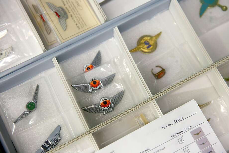 Pins from various airlines are stored in the SFO Museum warehouse. Photo: Liz Hafalia, The Chronicle