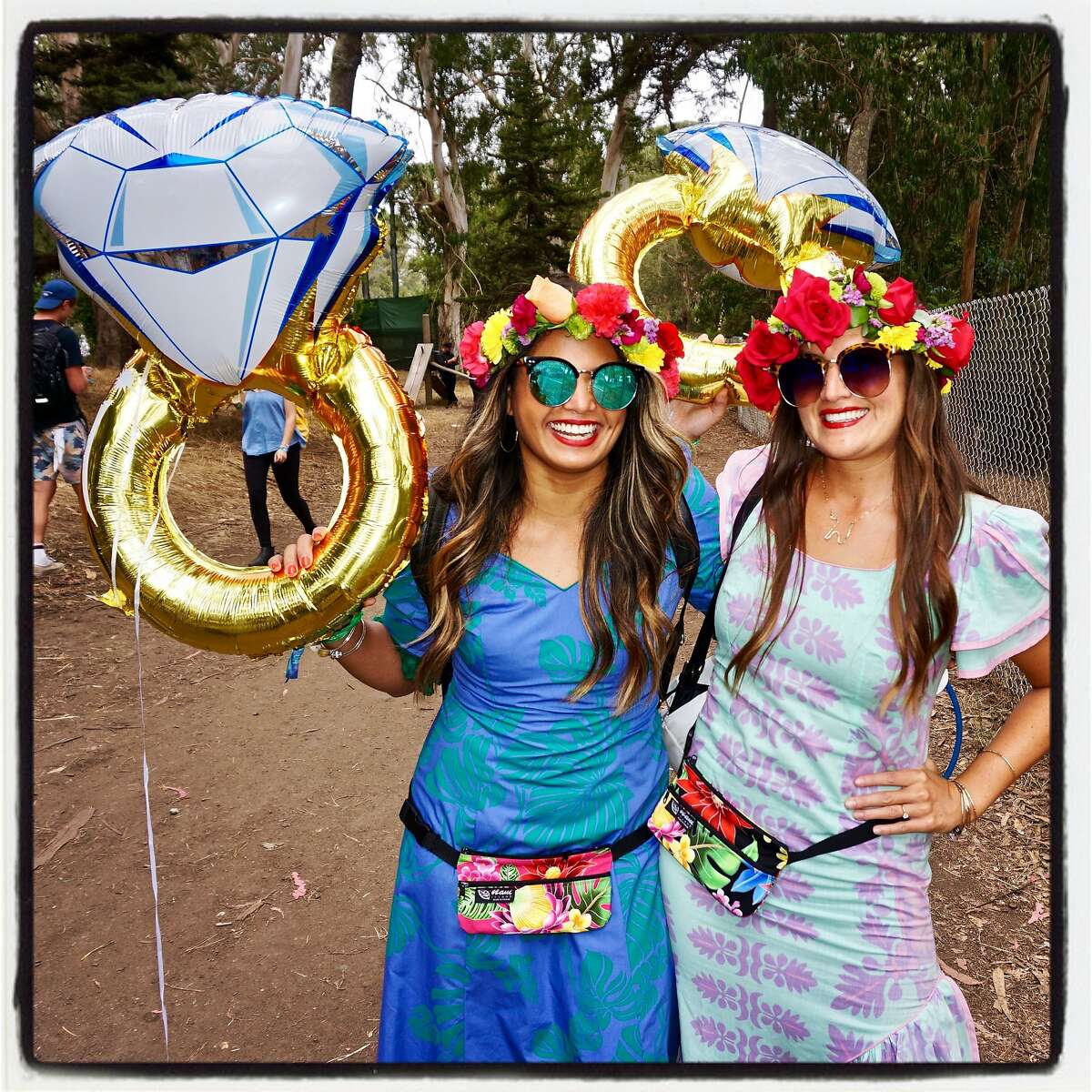 Leslie Benigno (left) and Gina Schipa of Hawaii traveled to Outside Lands for a Hen party with their friends and fiances. Aug. 13, 2017.
