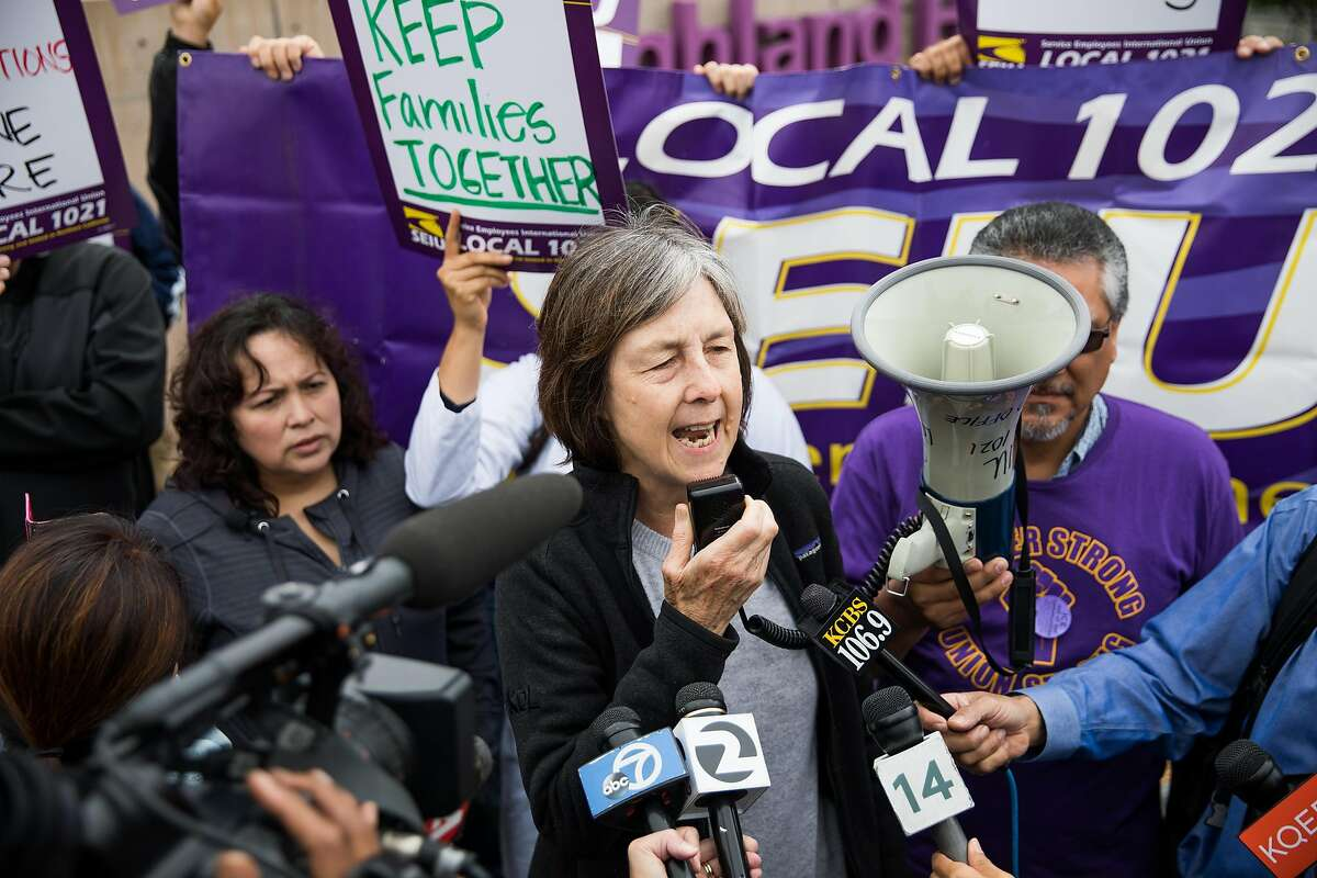 California State Senator Nancy Skinner speaks to the hundreds who came out to support Maria Mendoza-Sanchez and her husband, Eusebio Sanchez, who are facing deportation, at the Highland Hospital in Oakland, Calif. Monday, August 14, 2017.