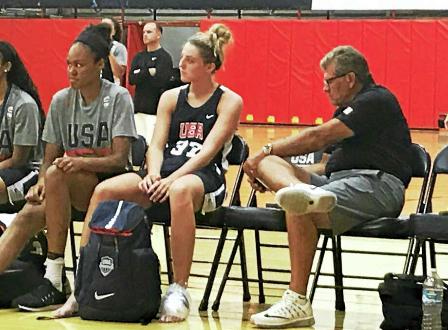 From right, UConn head coach Geno Auriemma, Katie Lou Samuelson and Azura Stevens at the U23 USA Basketball training camp in Colorado Springs, Colo., earlier this month. Photo: The Associated Press File Photo / AP