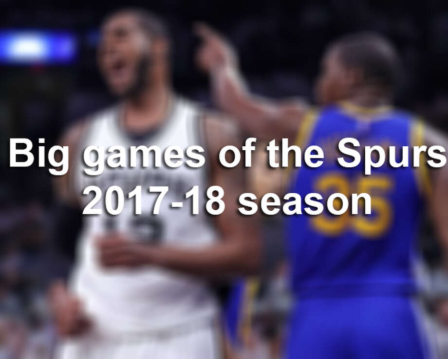 Click ahead to see the dates and times of the most anticipated Spurs games of the 2017-18 season. Photo: File