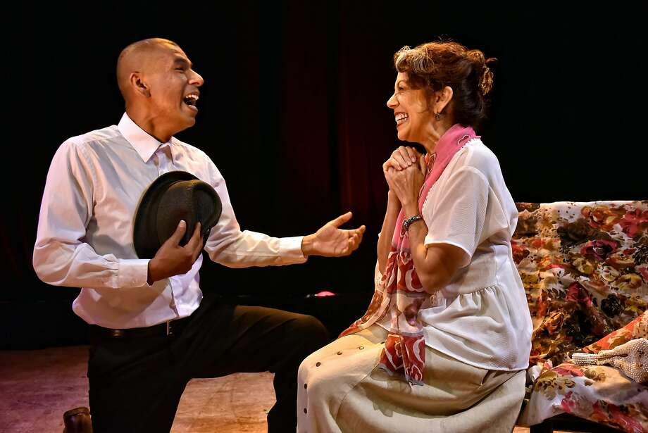 """Carlos Aguirre and Rose Portillo take the stage in """"The Mathematics of Love"""" at Brava Theater Center. Photo: Gareth Gooch, Brava Theater Center"""