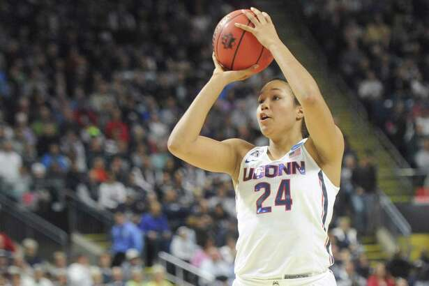 Napheesa Collier, shown here in UConn's 86-71 win over UCLA on March 25 in a regional semifinal game at Webster Bank Arena in Bridgeport, scored 16 points in the Huskies' win over the Netherlands on Monday.