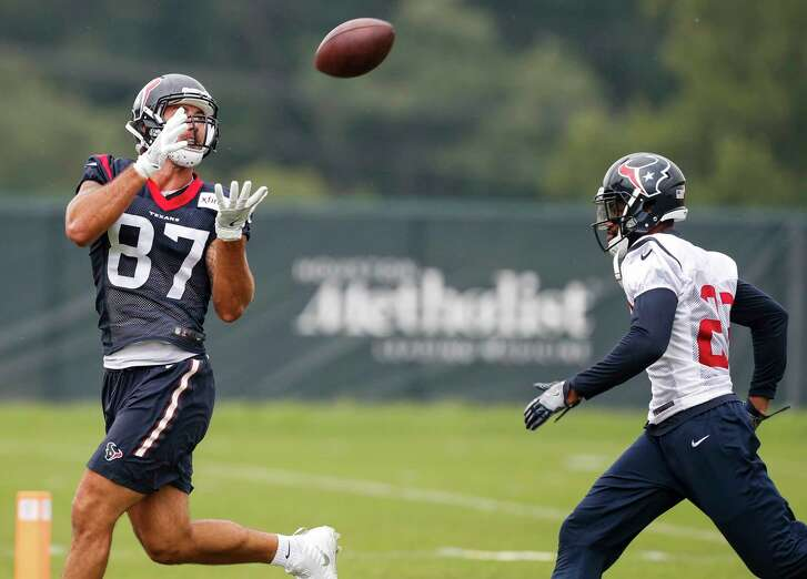 The Texans' top two tight ends - C.J. Fiedorowicz (87) and Ryan Griffin, right, combined for 104 receptions last season.