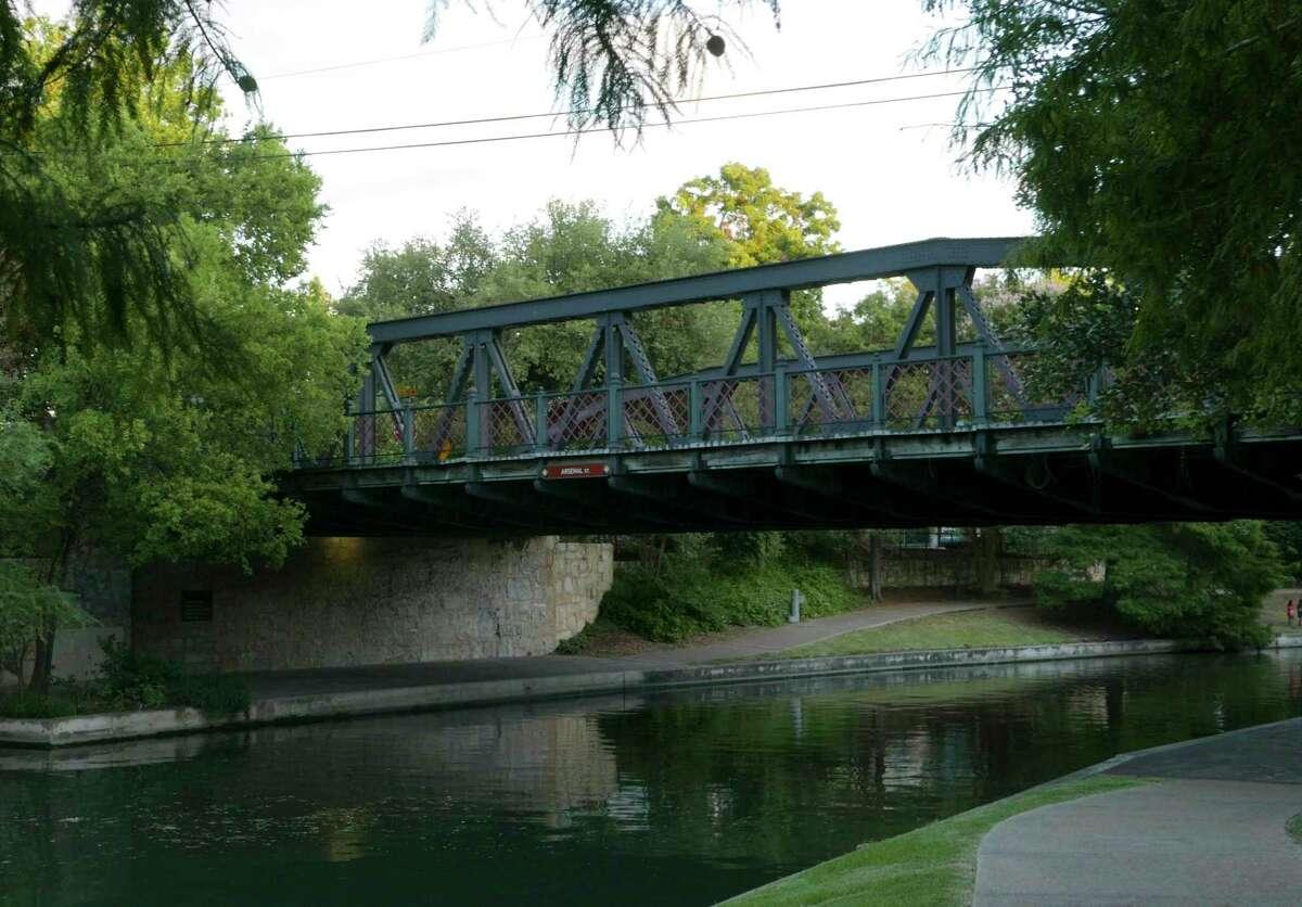 The Arsenal Street Bridge crosses the San Antonio River in the King William area.