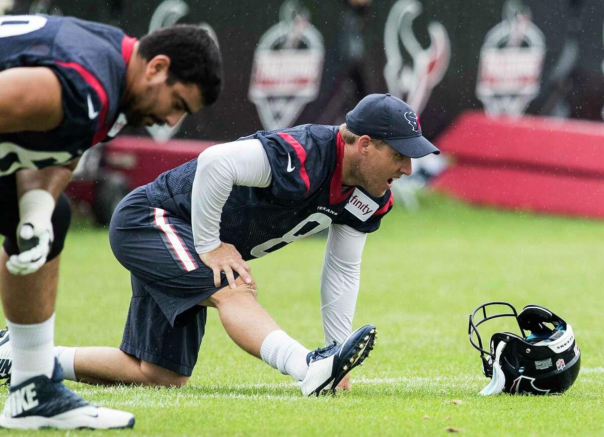 Houston Texans kicker Nick Novak (8) stretches during training camp at The Greenbrier on Monday, Aug. 14, 2017, in White Sulphur Springs, W.Va. ( Brett Coomer / Houston Chronicle )