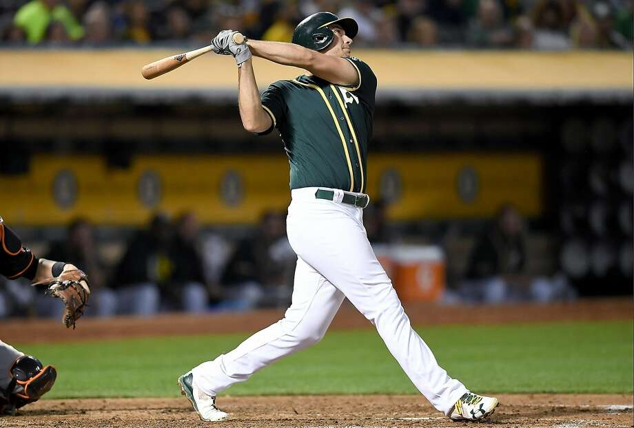 OAKLAND, CA - AUGUST 11:  Matt Olson #28 of the Oakland Athletics swings and watches the flight of his ball as he hits a two-run homer against the Baltimore Orioles in the bottom of the fourth inning at Oakland Alameda Coliseum on August 11, 2017 in Oakland, California.  (Photo by Thearon W. Henderson/Getty Images) Photo: Thearon W. Henderson, Getty Images