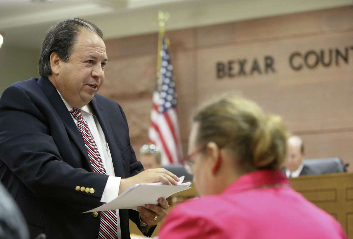 In this 2013 file photo, Justice of the Peace Roberto Vazquez appears before the Bexar County Salary Grievance Committee.
