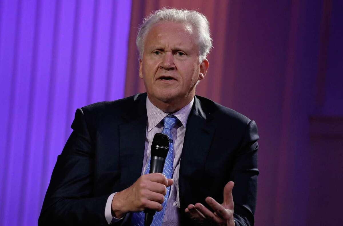 Jeffrey Immelt, chief executive officer of General Electric Co. (GE), speaks during an event at the Economic Club of New York in New York, U.S., on Thursday, June 22, 2017. Last week, Immelt announced he would step down as CEO on Aug. 1. Immelt's successor, John Flannery, said he plans to review the General Electric Co. empire he's inheriting, fueling speculation that the $240 billion company is headed for a major slimdown. Photographer: Peter Foley/Bloomberg ORG XMIT: 700071305