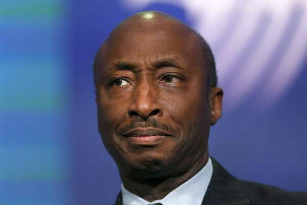 FILE - AUGUST 14, 2017: It was reported that Merck & Co Inc Chief Executive Kenneth Frazier resigned from U.S. President Donald Trump's American Manufacturing Council, saying he was taking a stand against intolerance and extremism August 14, 2017. NEW YORK, NY - SEPTEMBER 27:  Kenneth Frazier the Chairman and CEO of the pharmaceutical company Merck & Co., is viewed on stage at the the annual Clinton Global Initiative (CGI) meeting on September 27, 2015 in New York City. The event, which coincides with the General Assembly at the United Nations, gathers global leaders, activists and business people to try and to bring solutions to the world's most pressing challenges. CGI Annual Meetings have brought together 190 sitting and former heads of state, more than 20 Nobel Prize laureates, and hundreds of leading CEOs, heads of foundations and NGOs, major philanthropists, and members of the media. The meeting was established in 2005 by President Bill Clinton.  (Photo by Spencer Platt/Getty Images) ORG XMIT: 581473823