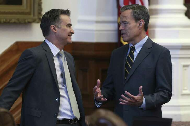 Texas Speaker of the House Joe Straus, R-San Antonio, right, talks with Rep. Roland Gutierrez, D-San Antonio, earlier this week. Straus, a moderate Republican, has won a record-tying five terms as speaker with the help of Democrats. Tea party Republicans who criticized Straus heavily are seeking a rule change that could affect his chances at a sixth term in 2019.