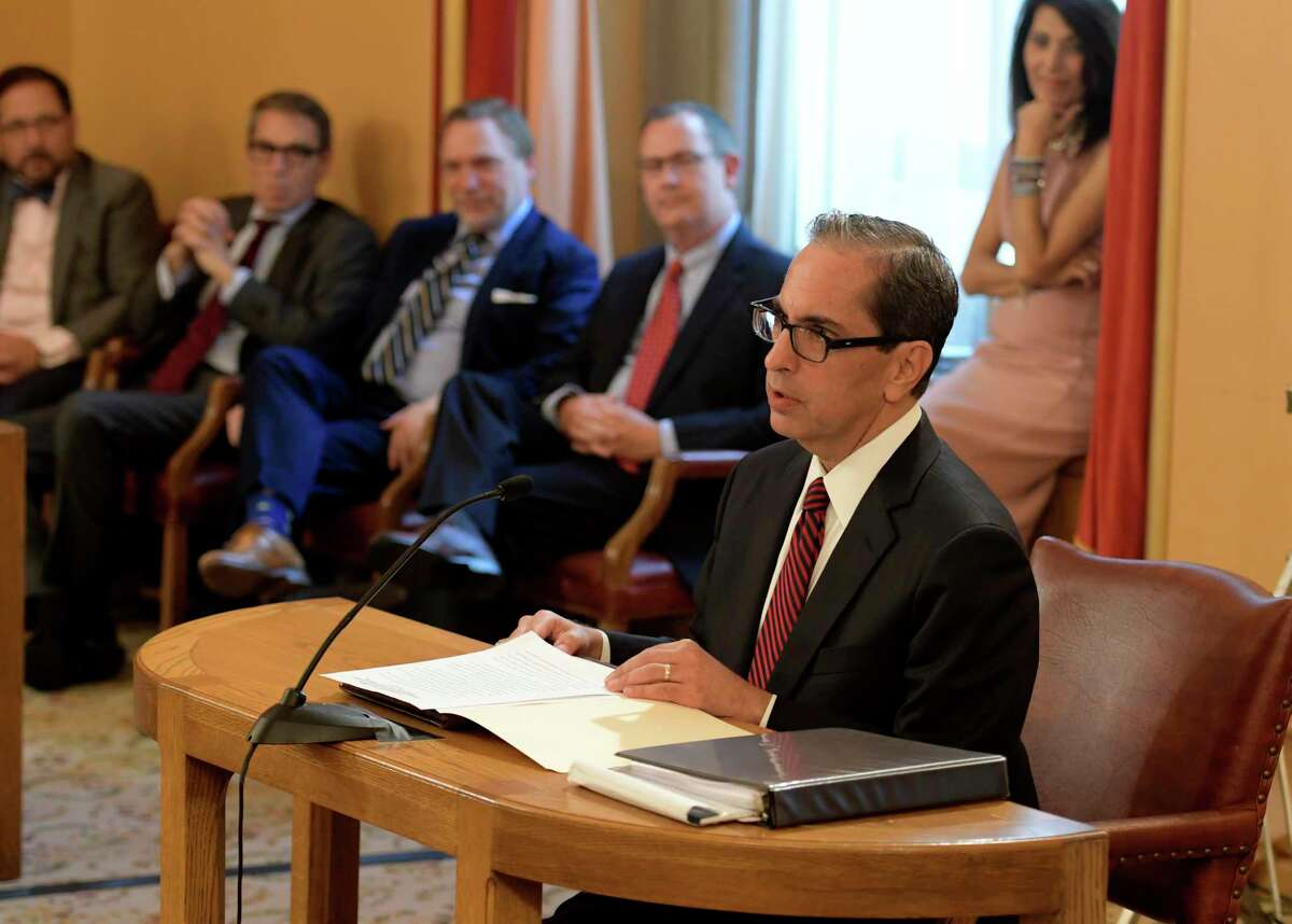 Appellate Justice Paul G. Feinman is questioned by the New York State Senate Judiciary Committee during to determine his qualifications to become an associate judge on the Court of Appeal of New York State Tuesday June 20, 2017 at the State Capitol in Albany, N.Y. (Skip Dickstein/Times Union)