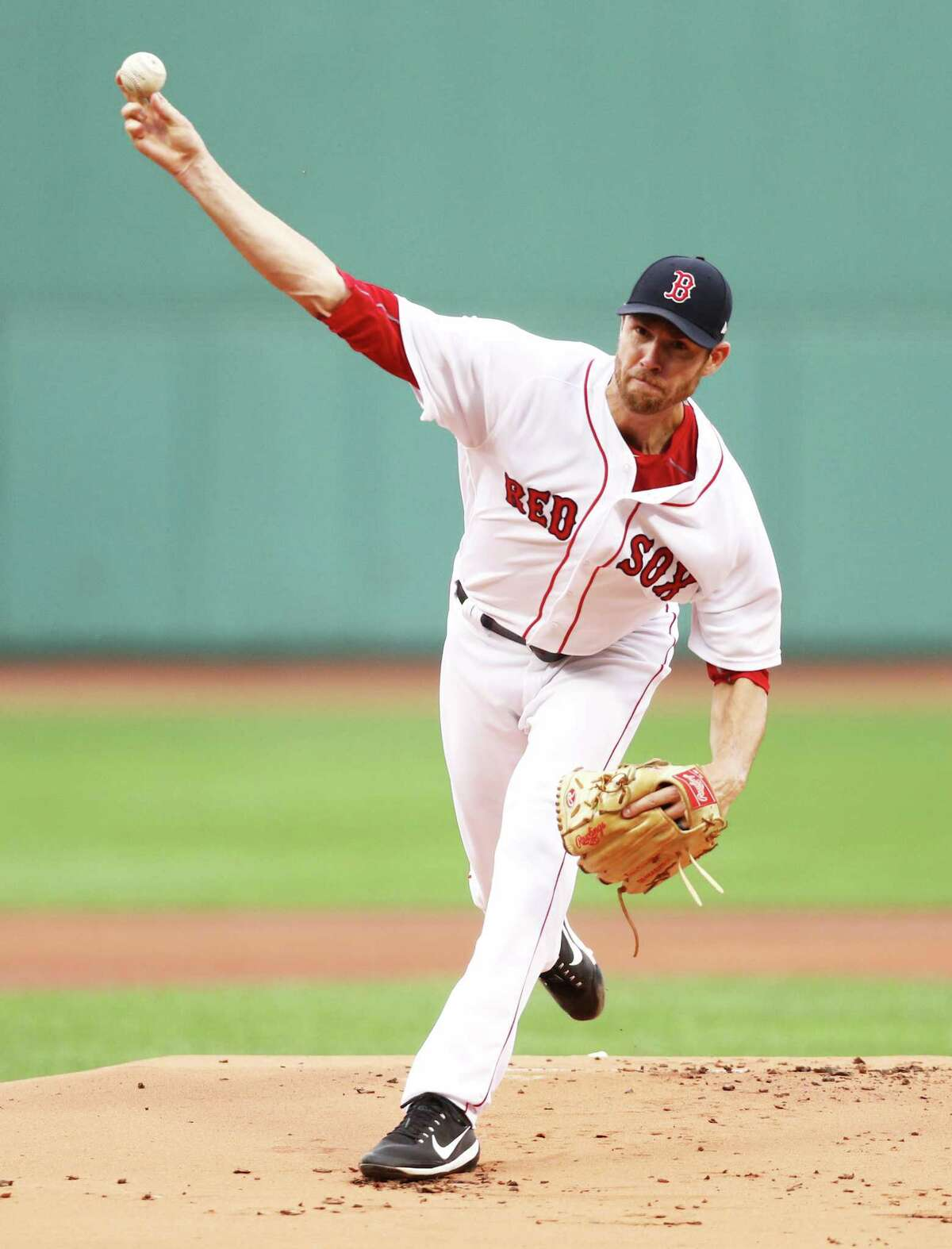 BOSTON, MA - AUGUST 14: Doug Fister #38 of the Boston Red Sox pitches against the Cleveland Indians during the first inning at Fenway Park on August 14, 2017 in Boston, Massachusetts. (Photo by Maddie Meyer/Getty Images) ORG XMIT: 775020105